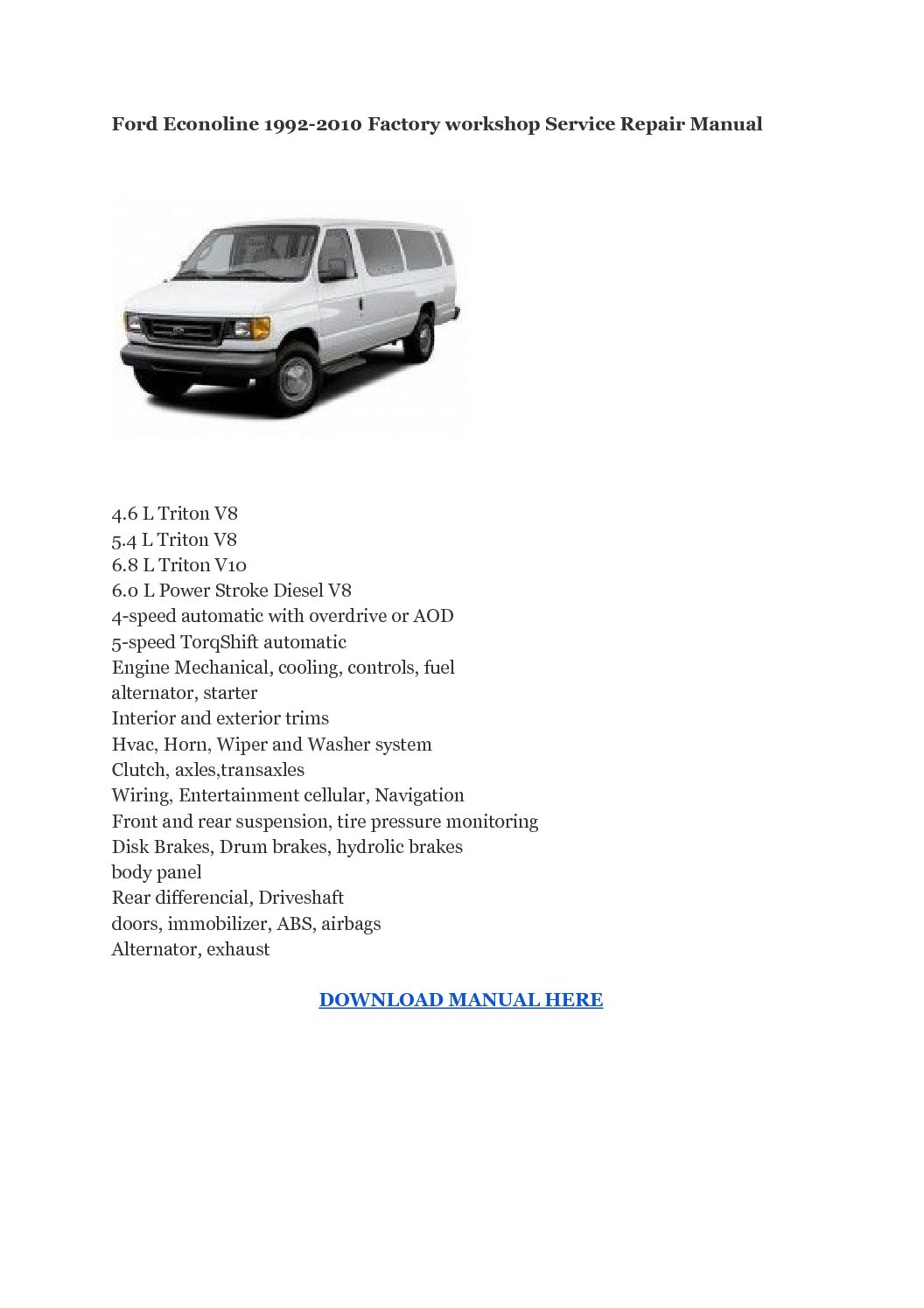Ford Econoline 1992-2010 Factory workshop Service Repair Manual